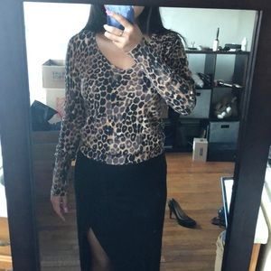 Express Sweaters - Leopard print v-neck sweater